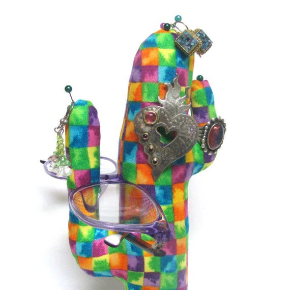 Tall Colorful Check CACTUS-Stand ~ Eyeglass Jewelry Holder ~ Ready to Ship