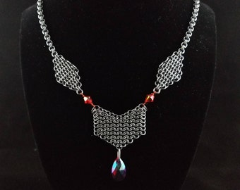 Red gunmetal necklace micromaille chainmaille swarovski siam gem double link gunmetal chain