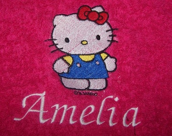 Personalised embroidered Hello Kitty pinafore  bath towel (100% cotton)