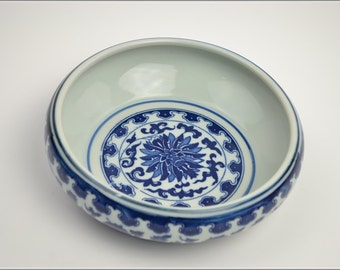 Free Shipping Chinese Calligraphy Material  20x6cm Porcelain Water Bowl Brush Washing Bowl - Blue and White -  0008