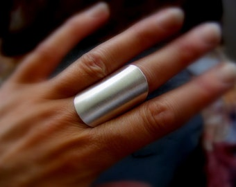 Silver Statement Wide Band Ring Brushed Silver Saddle Ring
