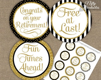 Retirement Cupcake Toppers - Black & Gold Glitter - Printable Retirement Toppers - Elegant Black Gold Retirement Party Decorations - BGL