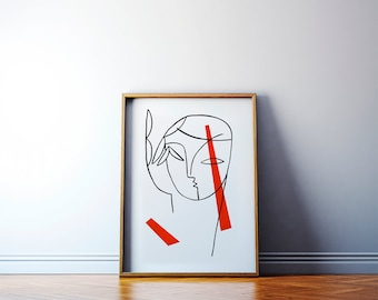 Modern minimalist giclée print. Portrait of a Girl with Red painting. Geometric face illustration art. 50x70 poster.