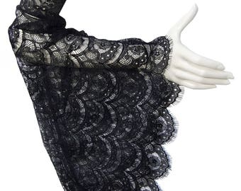 Pair long black lace gothic wedding sleeves, black lace, arm warmers, burlesque,halloween