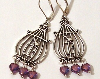 Earrings pendant Bird Cage in silver and Pearl hearts in blue and purple Art nouveau Fantasy