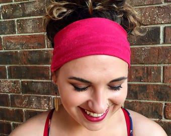 Wide Pink Boho Headband 3- Yoga Headband- Fitness Headband- Workout Headband- Fashion Headband- Wide Headband- Boho Style Headband