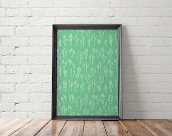 Cactus Printable, Cactus Wall Art, Cactus Home Decor, Cactus Wall Decor, Mint Green Wall Art, Cactus Pattern