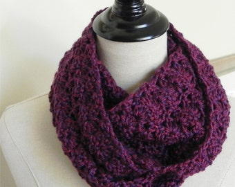 Lacy crochet infinity scarf Maroon crocheted cowl scarf Marsala Merlot circle scarf is ready to ship # 504