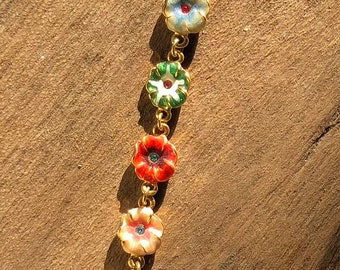 Flower and lady bug bracelet