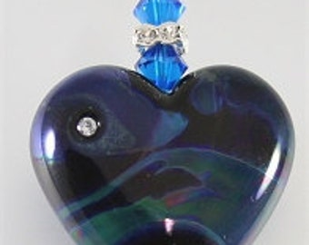 Black, Blue & Green Heart Glass Lampwork Focal Bead Pendant - SRAJD
