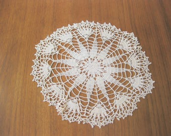 Hand Crocheted Vintage Doily, Hand Crocheted Intricate Doily, Table Centerpiece, Ecru Cotton Crocheted Doily
