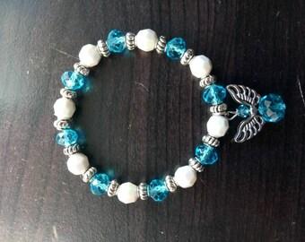 Blue and White Angel Charm Bracelet