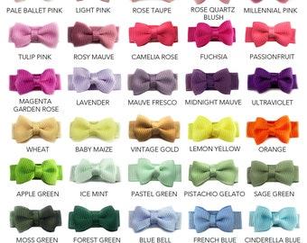 Baby Toddler Snap Clip Grosgrain Tuxedo Hair Bows, Mini Bows, Infant, Shower Gift, Baby Bows - Pick 5