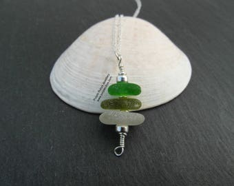 Cornish Sea Glass Stack Necklace ~ Green & White ~ Sterling Silver ~ Cornwall