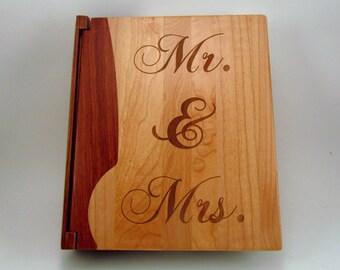 """Engraved Wood Personalized Photo Album """"Mr. & Mrs.""""- Large"""