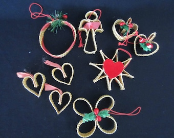 Vintage Scandinavian Nordic straw woven ornaments star/hearts/angel/circle/clover feather tree decor wheat weaving set of 9