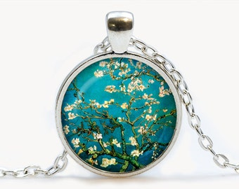 Van Gogh Almond branches in bloom art pendant. Van Gogh Necklace. Van Gogh jewelry. Birthday gift
