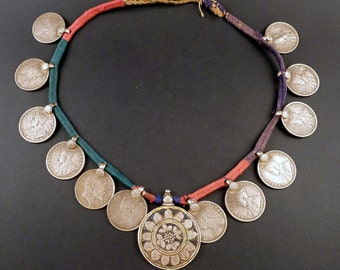 Old silver ruppee Raj coins necklace from Himachal Pradesh, India, indian tribal necklace, ethnic tribal silver