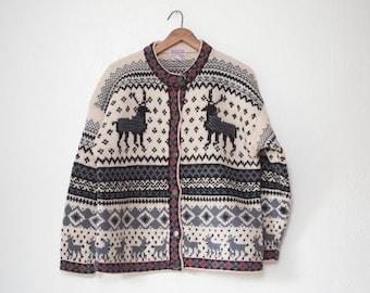 Wool Ski Cardigan Vintage womens medium sweater knit jumper / button down wool vintage cardiganmid weight patterns nordic reindeer cozy