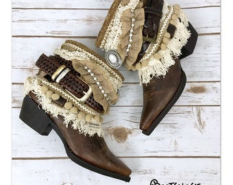 Custom reworked festival boho cowboy boots -western boots. Leather boots.