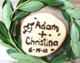 Personalized Save the Date- Love Bird Wood Slice Magnet
