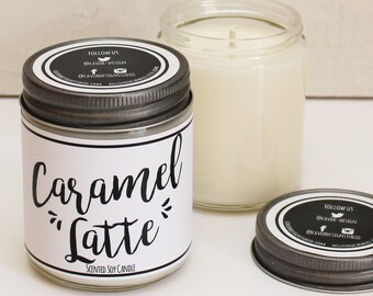 Caramel Latte Scented Candle - 8 oz | Candle Gift | Unique Scented Candle | Coffee Scented Candle | Soy Candle | Personalized Candle