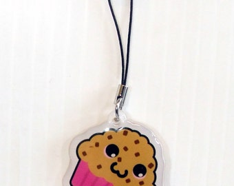 "Cute Choc Chip Muffin Kawaii Acrylic Phone Charm 1.5"""