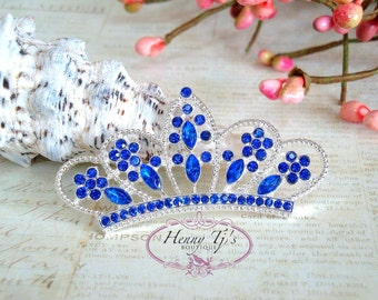 4 pcs ROYAL BLUE Crystals Tiara Crowned Princess  Rhinestone Buttons, Crystal Tiara Bow Embellishment, Bridal Wedding Cake Decorations