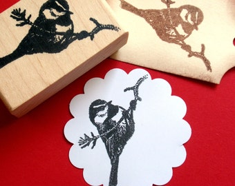 Black Capped Chickadee Bird Rubber Stamp - Handmade rubber stamp by BlossomStamps
