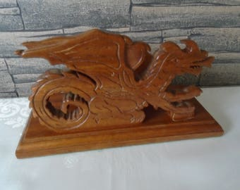 oriental Chinese dragon themed letter rack solid wood