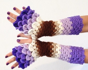 READY TO SHIP - Dragon Scale Fingerless Gloves - purple, violet, lilac, tan, brown, wrist hand arm warmers women crochet game of thrones
