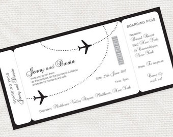 Boarding Pass Airline Ticket Invitation DIY Printable PDF