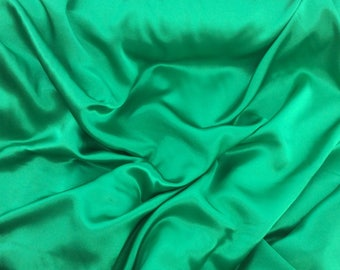 High quality silky sateen, very close to genuine silk sateen. Christmas Green No28