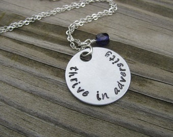 "Inspiration Necklace- ""thrive in adversity"" with an accent bead of your choice"