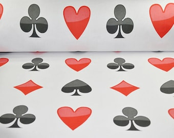 Diamonds clubs hearts spades Poker Playing Cards Fabric, cotton fabric by the yard, sewing fabric, black red white Gambling fabric