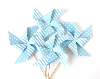 Set of 4 pinwheels decorative blue color, customizable