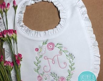 Flower Bib / Girl Personalized Bib / Ruffle Bib / Girl's Monogram Bib / Baby Shower Gift / Baby Girl Gift / Baby Monogram / Christening bib