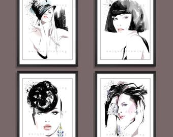 Fashion Illustration, Fashion art, Fashion painting, fashion art, Vogue, beauty, portrait, fine art, model, home decor, Set of 4 prints 3331