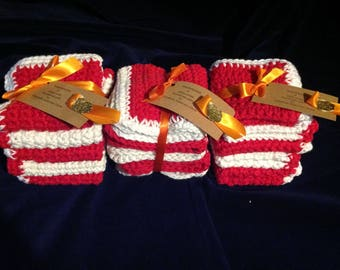 Red and white cotton dish clothes