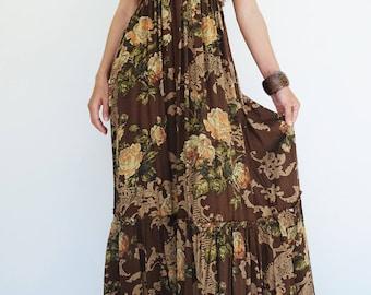 NO.219 Multicolor Viscose Floral Print Strapless Maxi Dress, Peasant Dress, Bohemian Dress