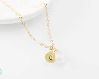 Initial necklace, initial bead necklace, initial charm, bead charm necklace, gold charm necklace, charm necklace, cute necklace, blue bead