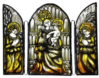Madonna and child triptych, painted glass, stained glass, glass ornament, free-standing, altarpiece, copper foil, angels, religious icon