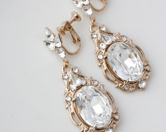 Rose Gold Clip On Wedding Earrings Large Crystal Bridal Earrings Pink Gold Statement Wedding Jewelry RYAN