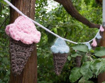 Ice Cream cones garland, Nursery decor, Birthday decor, colorful kids party decor, crochet Ice Cream cones garland - 88.5in