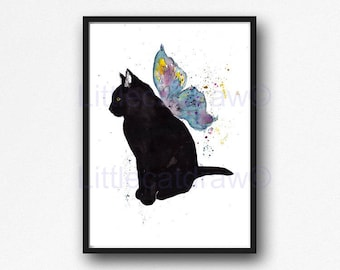 Cat Print Cat With Butterfly Wings Watercolor Painting Art Print Cat Decor Black Cat Wall Art Cat Lover Gift Wall Decor Unframed