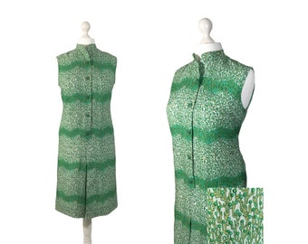 1970's Green Dress | UK 14 16 | Vintage 70's Dress | Abstract Tree Print Dress