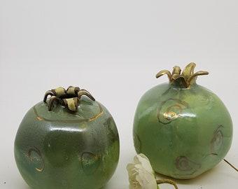 Turquoise green pomegranate, Ceramic pomegranates Judaica, decorated with gold, Handmade Ceramic Pomegranate, Rosh Hashana, GIFT, 1301