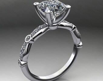 amelia ring - 1.7 carat cushion cut NEO moissanite engagement ring, vintage inspired
