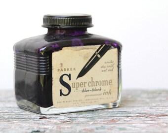 vintage ink bottle . back to school parker superchrome blue-black permanent ink