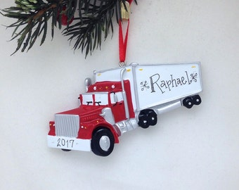 Semi Truck Personalized Christmas Ornament / Toddler Christmas Ornament